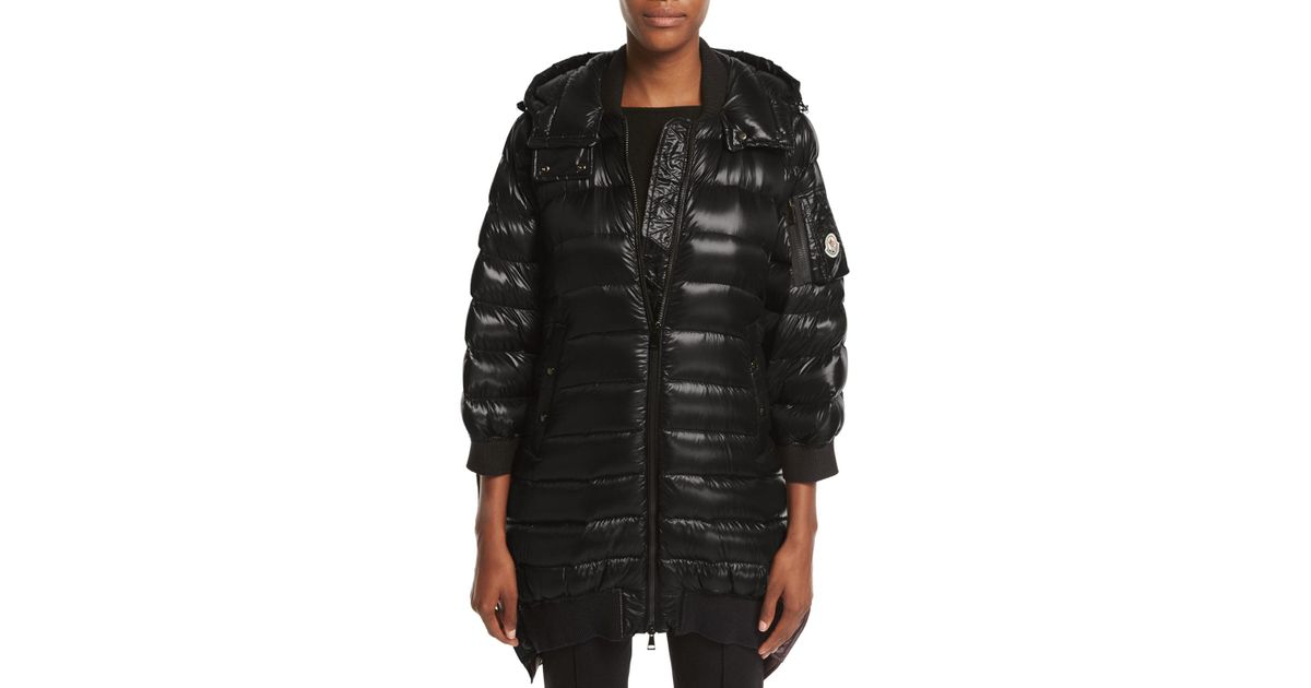 0cd24fc49 Moncler Black Bamboo Shiny Side-snap Quilted Puffer Jacket