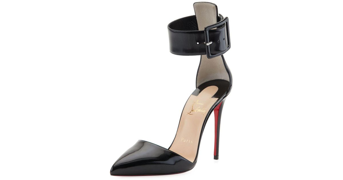 277c0f71eef Christian Louboutin Black Harler D'orsay Patent Red Sole Pump
