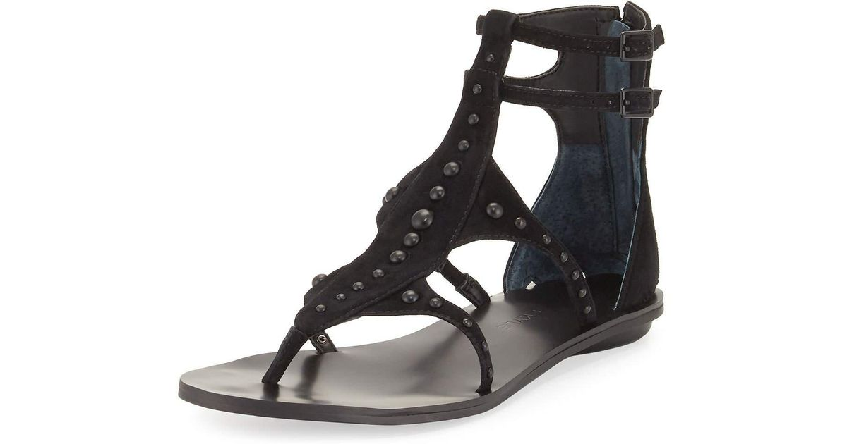 KYLIE Womens Fayth Suede Leather Studded Sandals Gray KENDALL MSRP $130