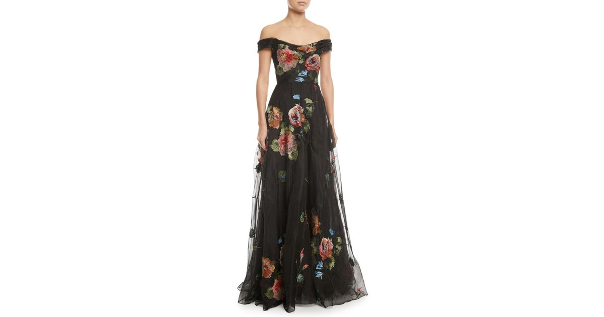 4edd1b19 Marchesa notte Off-the-shoulder Embroidered Silk Organza Ball Gown in Black  - Lyst