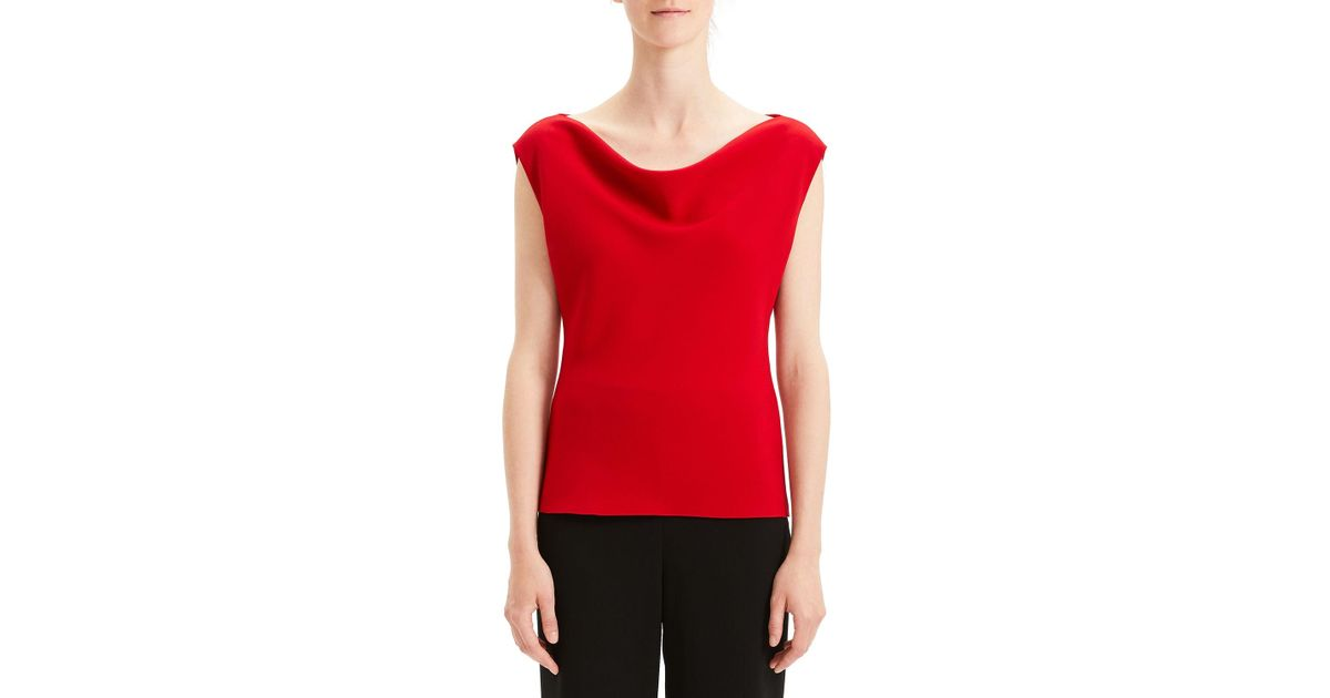 807632d930 Theory Draped Boat-neck Classic Crepe Top in Red - Lyst