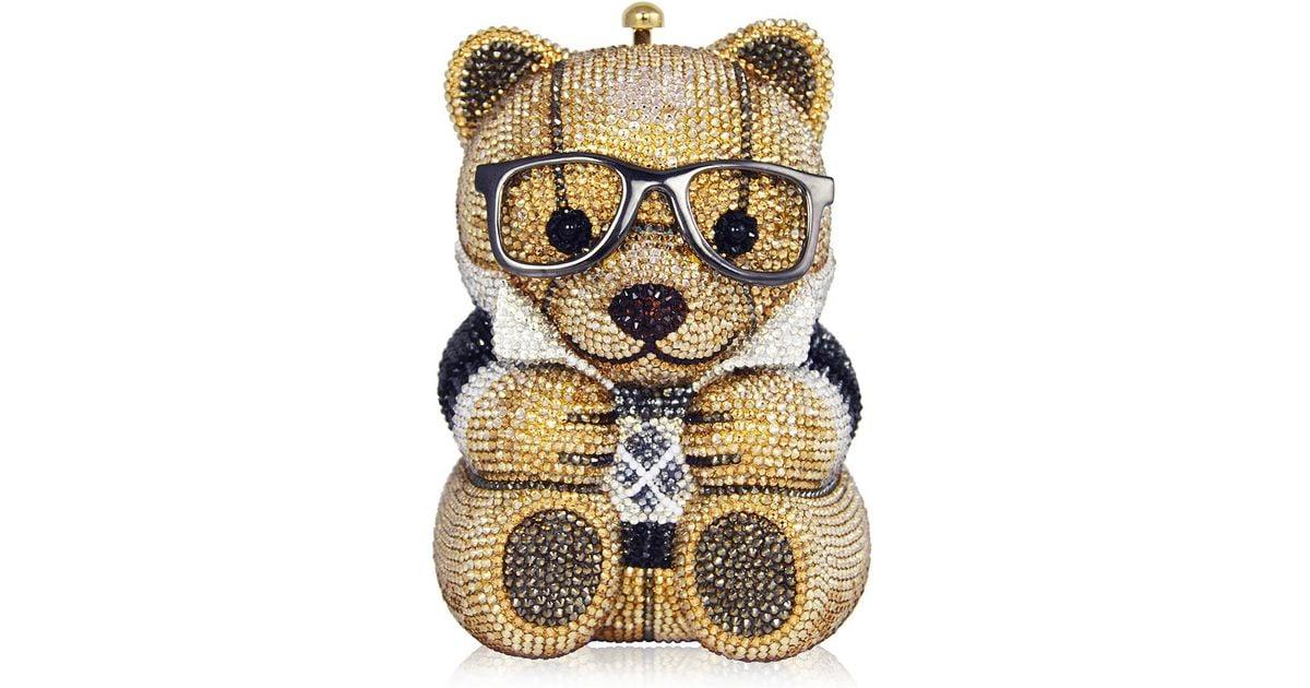 c78ea1c96fb0 Judith Leiber Spencer Teddy Bear Evening Clutch Bag in Metallic - Lyst