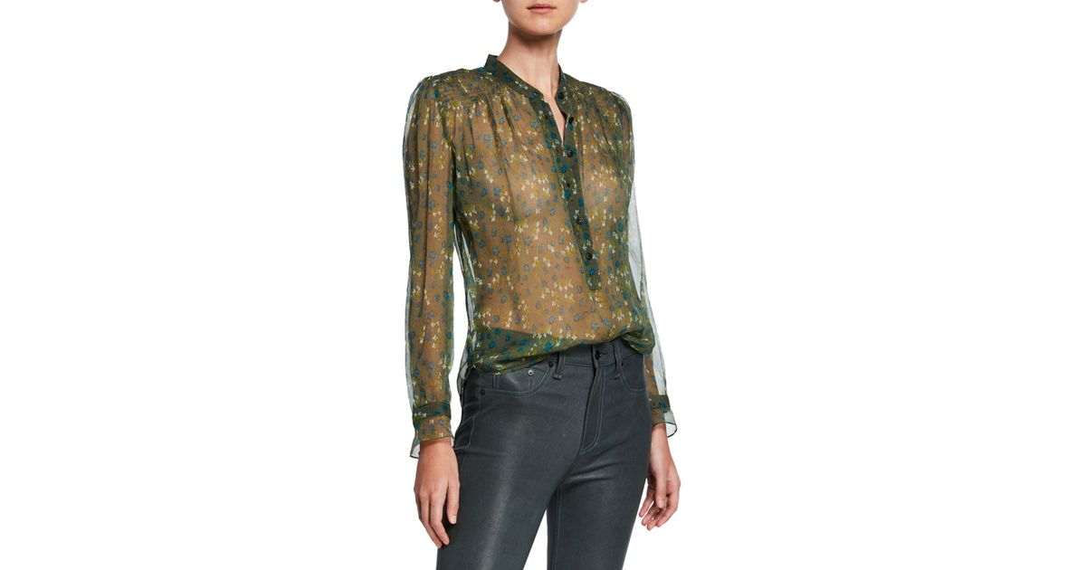 acc332898e815f Rag & Bone Susan Floral Chiffon Long-sleeve Blouse in Green - Save 38% -  Lyst