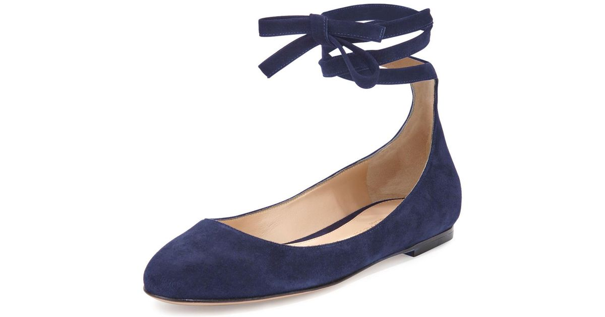 02804cbbe255 Lyst - Gianvito Rossi Carla Suede Lace-up Flat in Blue