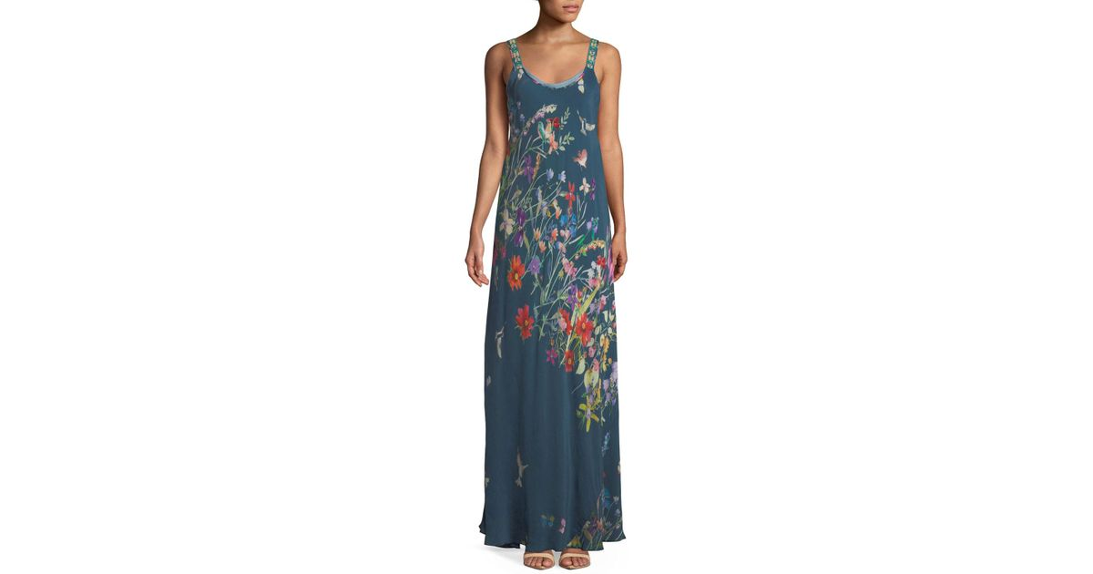 Johnny Was Linsu Maxi Printed Tank Dress in Blue - Lyst