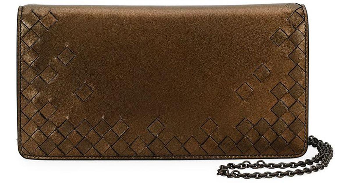 143cb5f8434b Lyst - Bottega Veneta Intrecciato Flap Antique Napa Wallet-on-chain in  Metallic