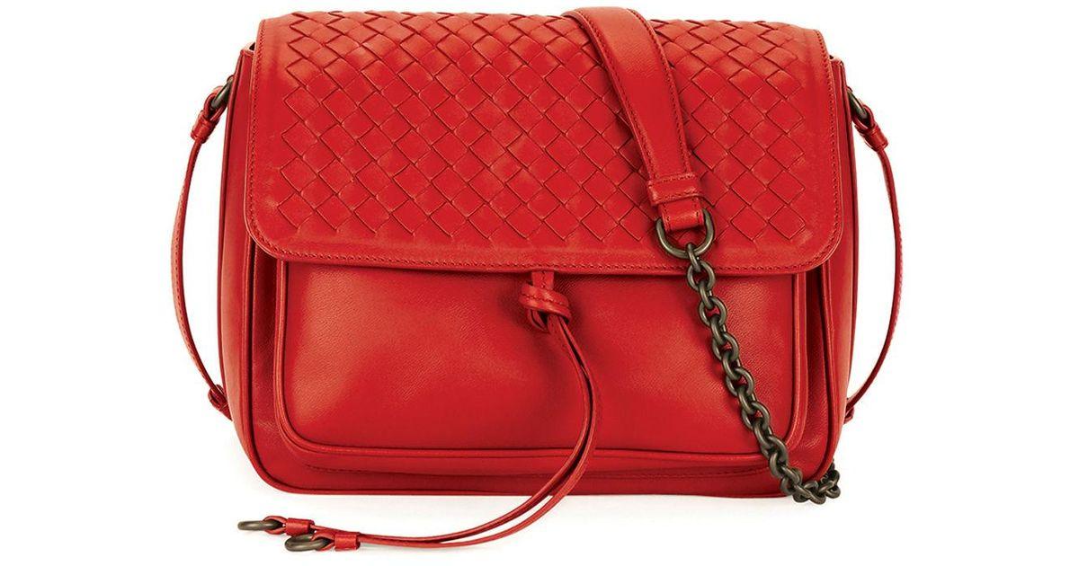 6dd2749fd32c Lyst - Bottega Veneta Medium Intrecciato Flap Tie-front Shoulder Bag in Red