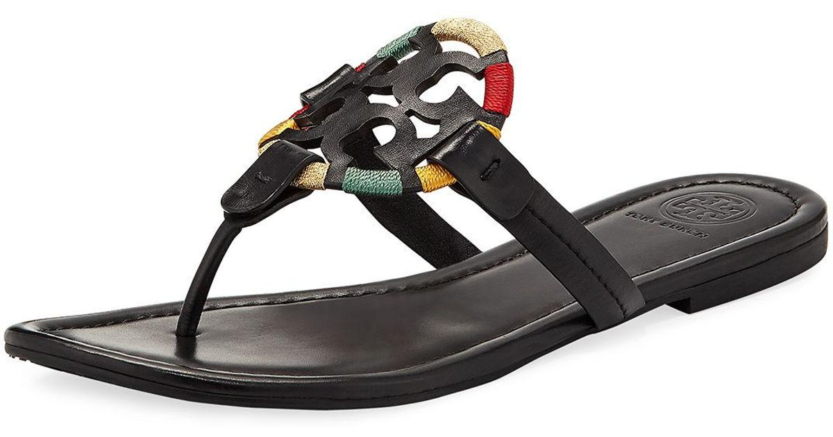 aadf058c2 Lyst - Tory Burch Miller Flat Embroidered Medallion Sandal in Black - Save  60%