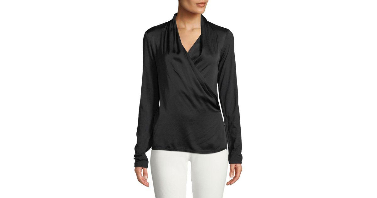 98949b7e7f41d3 Lyst - Velvet Bedelia Wrap-front Long-sleeve Top in Black