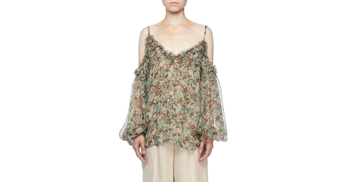 f8a35be2e7556 Lyst - Stella McCartney Cold-shoulder Meadow Floral Print Blouse in Brown