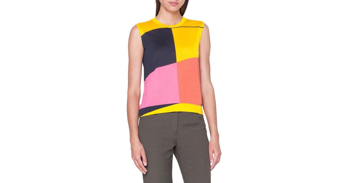 cef0e7a8098375 Lyst - Akris Sleeveless Sunrise-colorblock Cashmere Sweater