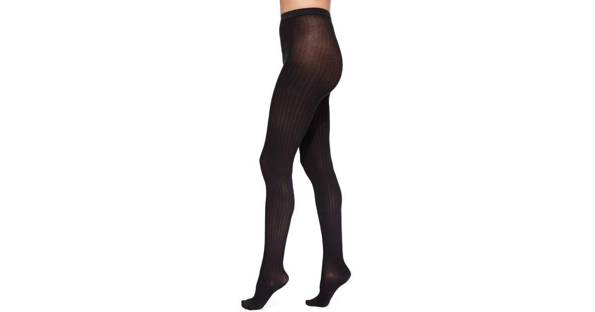 a614ffa8b24 Lyst - Wolford Fine Cotton Basic Ribbed Tights in Black