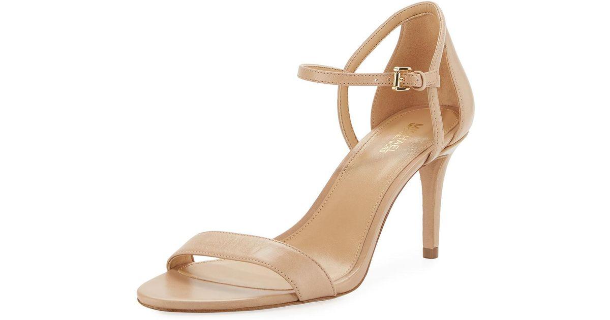 894d0b3ec86a Lyst - MICHAEL Michael Kors Simone Mid-heel Minimalist Sandal in Natural