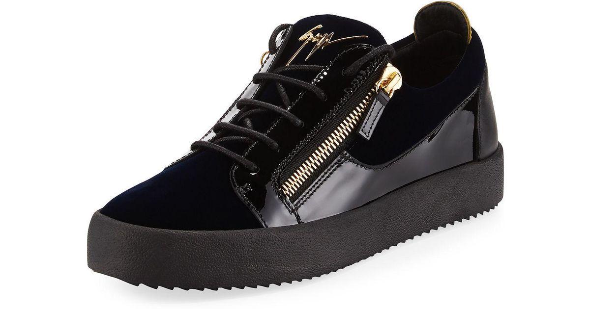 70e0328fc7f5d Lyst - Giuseppe Zanotti Men's Velvet & Patent Leather Low-top Sneakers in  Blue for Men
