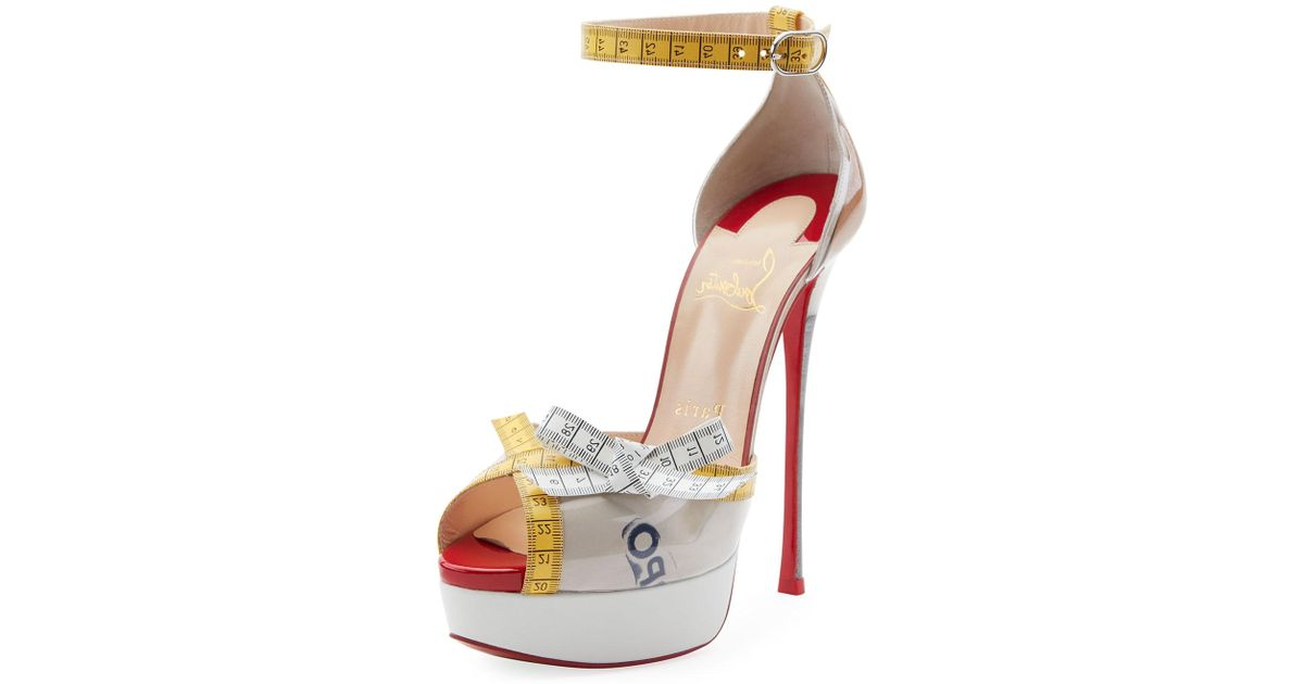 638d6a55fc6 Christian Louboutin Yellow Metricathy Measuring Tape Red Sole Pumps