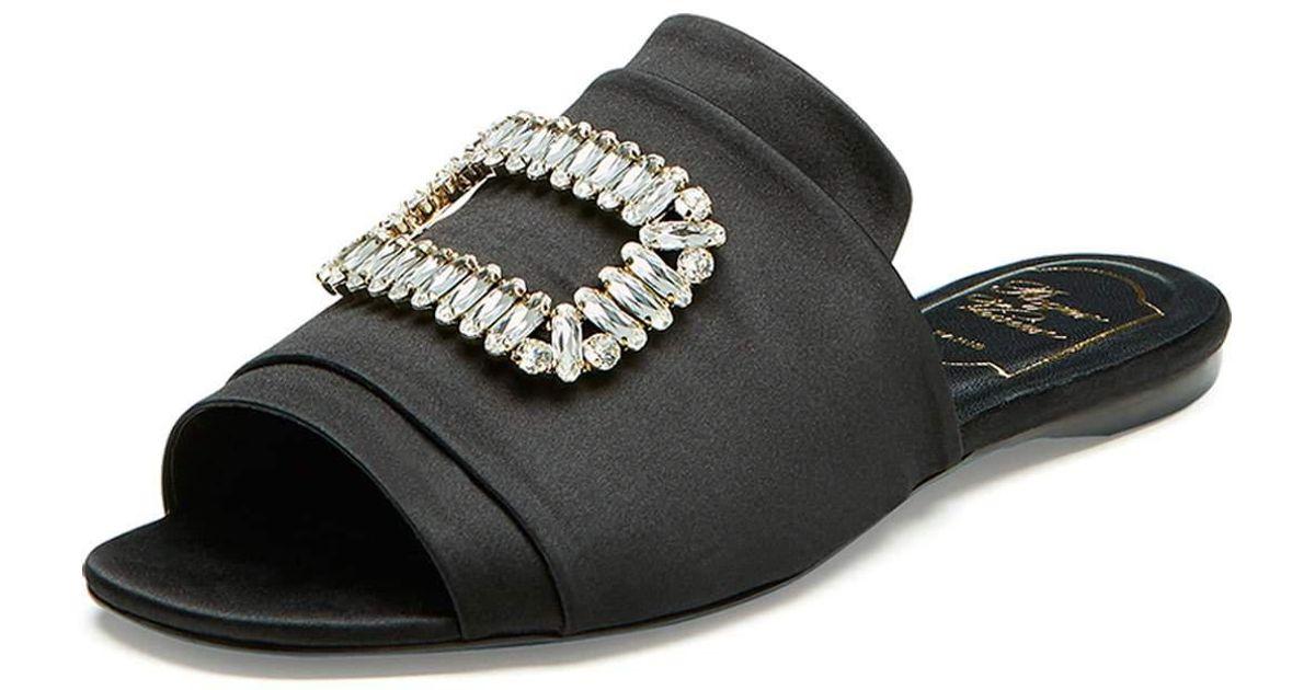 b442be9715ee Roger Vivier Strass-buckle Satin Slide Sandals in Black - Lyst