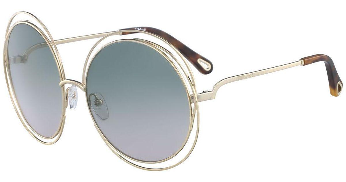 Lyst - Chloé Carlina Round Wire Metal Sunglasses
