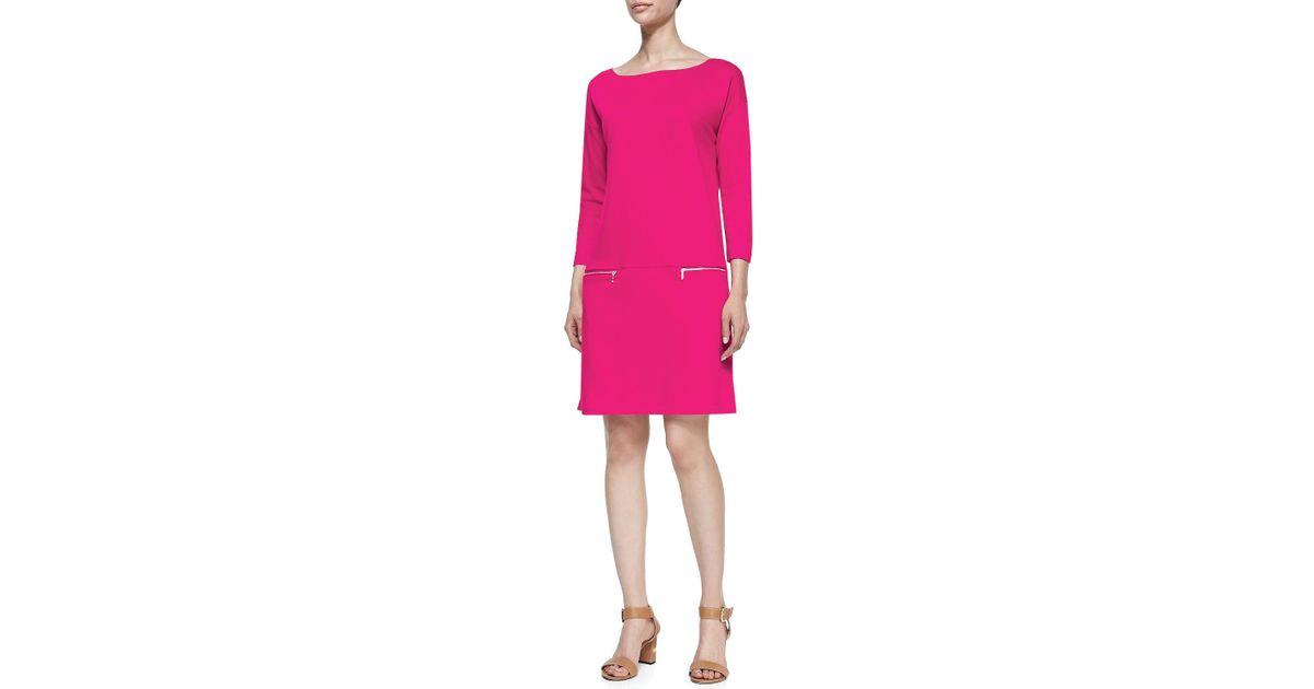 12bb5cfa4 Joan Vass Petite Knit Zip-pocket Shift Dress in Pink - Lyst