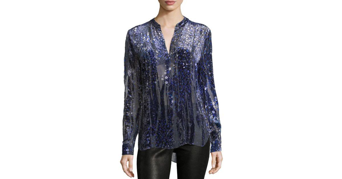 03f9b0579dcf6f Lyst - Elie Tahari Martha Floral-print Velvet Blouse in Blue