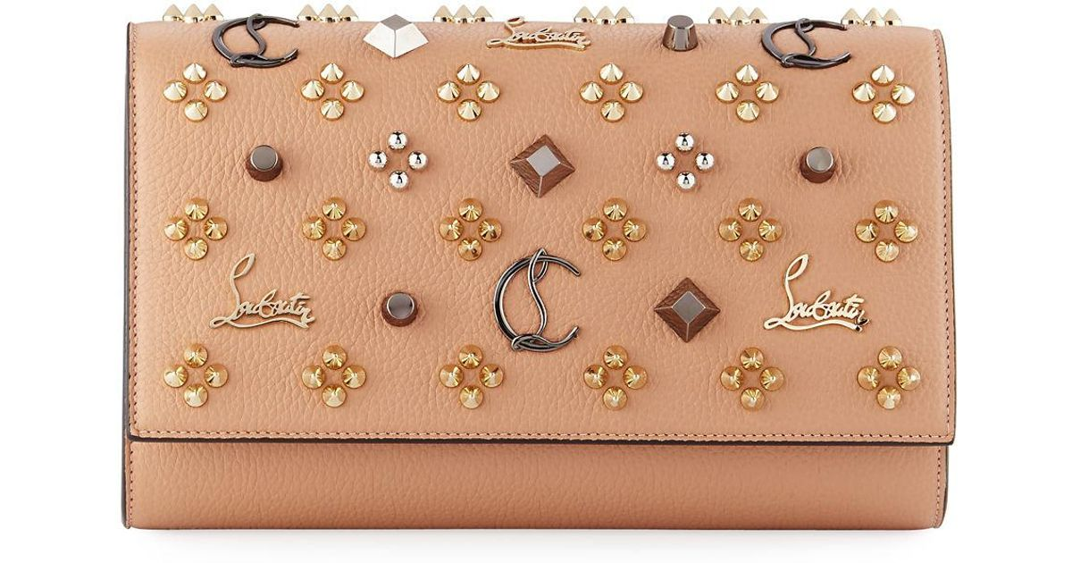 8d4a2ce97aa Christian Louboutin Paloma Fold-over Embellished Clutch Bag - Lyst