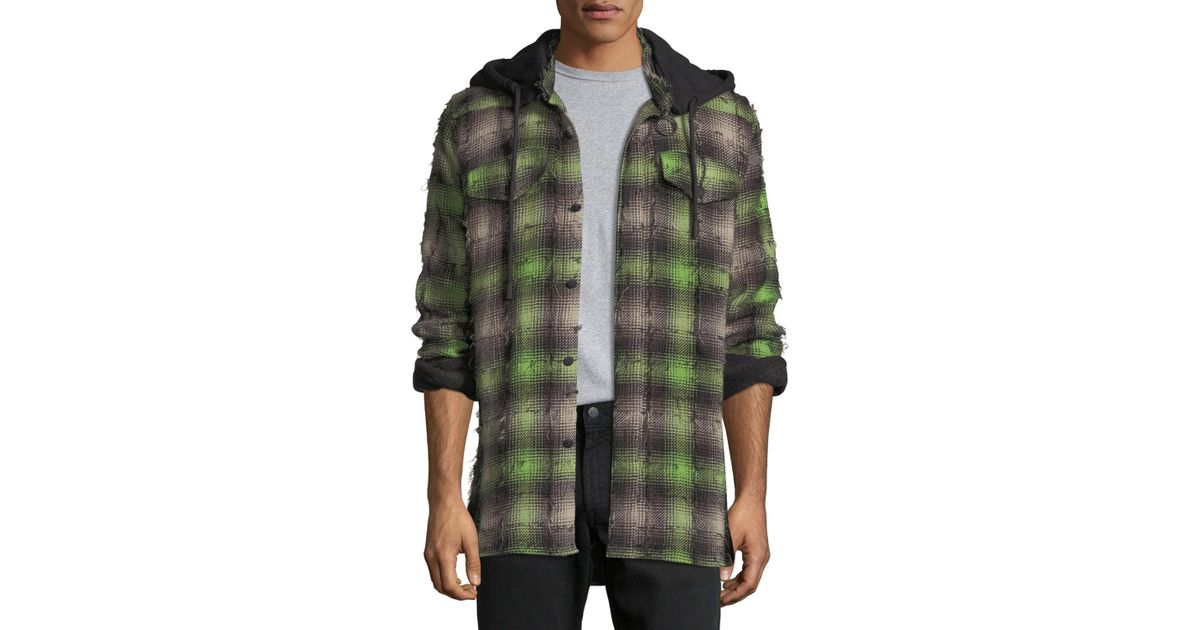 8e02f6994581 Lyst - Off-White c o Virgil Abloh Diagonal Stripes Plaid Flannel Hooded  Shirt in Green for Men