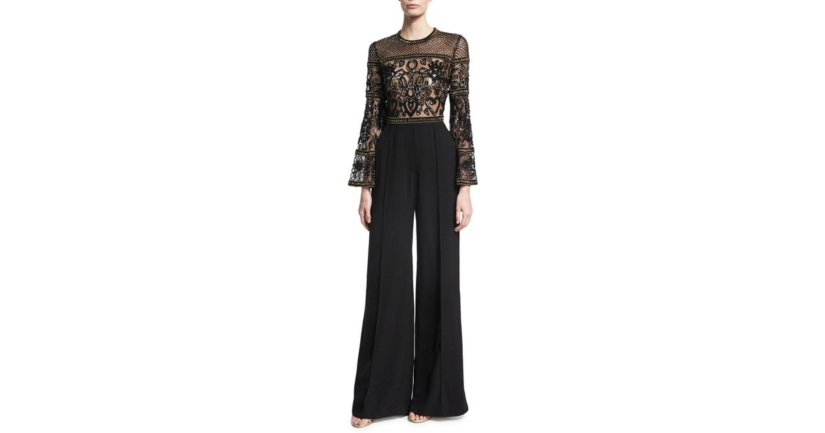 a81521d4eb58 Lyst - Elie Saab Wide-leg Bell-sleeve Jumpsuit With Beaded Bodice in Black