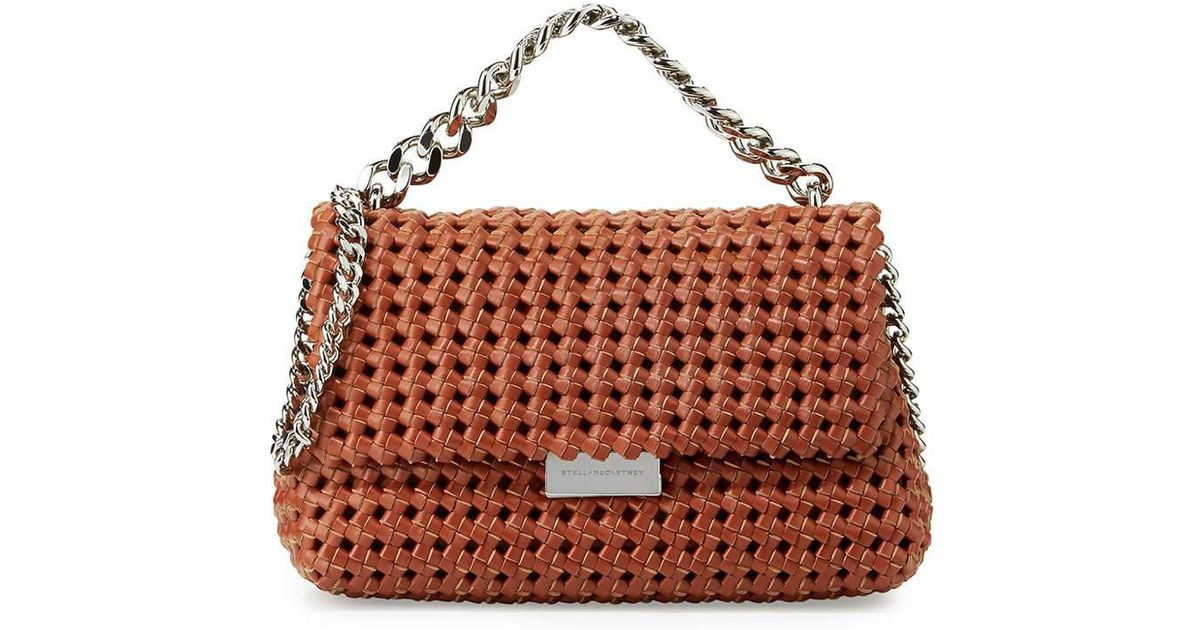 Stella Mccartney Brown Bex Small Woven Flap Shoulder Bag