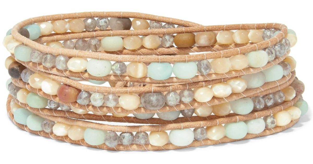 Leather And Silver-tone Multi-stone Wrap Bracelet - Beige Chan Luu 65GdlBo