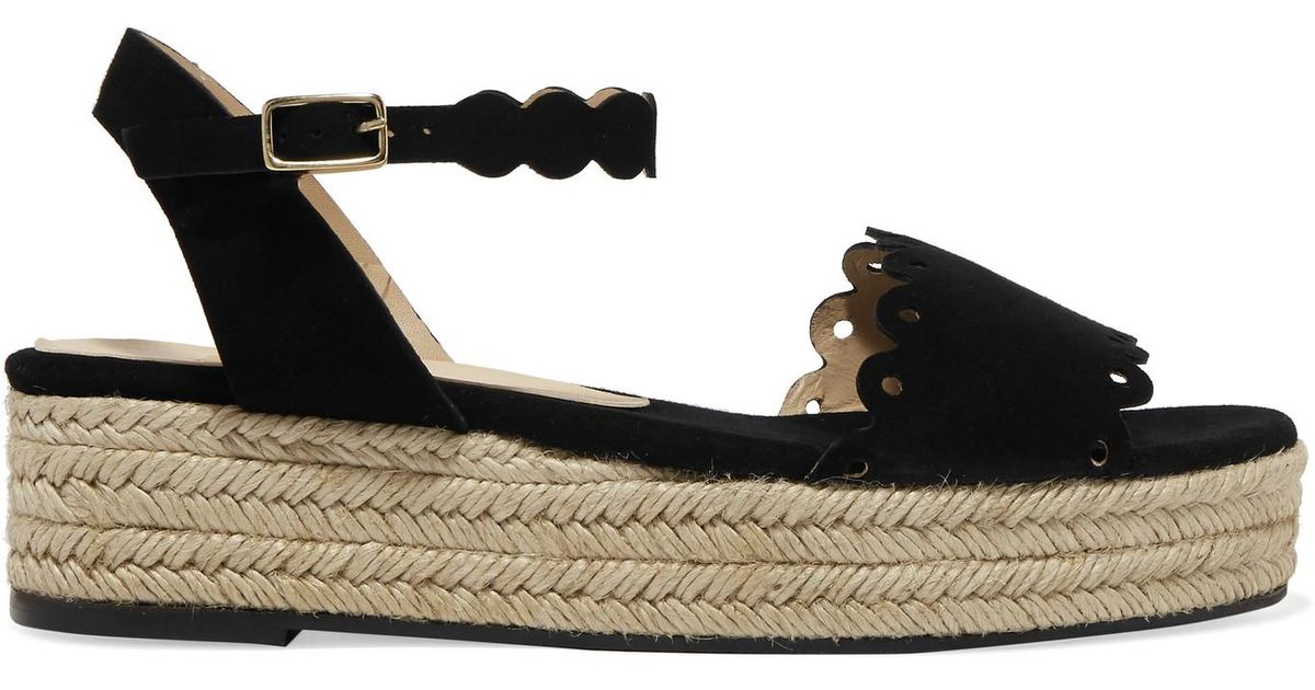 f8144565e84 Castaner Black Ana Scalloped Suede Espadrille Platform Sandals
