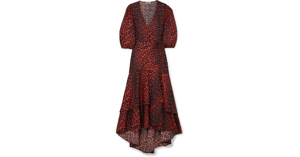 a27d50e5 Ganni Bijou Leopard-print Cotton-poplin Wrap Dress - Lyst