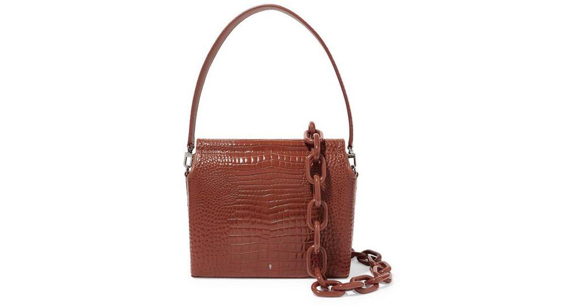 2ea3be59191 GU_DE Brown Duet Croc-effect Leather Shoulder Bag