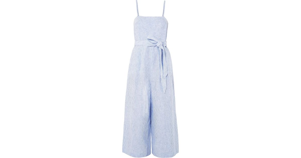 6a41e39738 J.Crew Marseille Belted Striped Linen Jumpsuit in Blue - Lyst