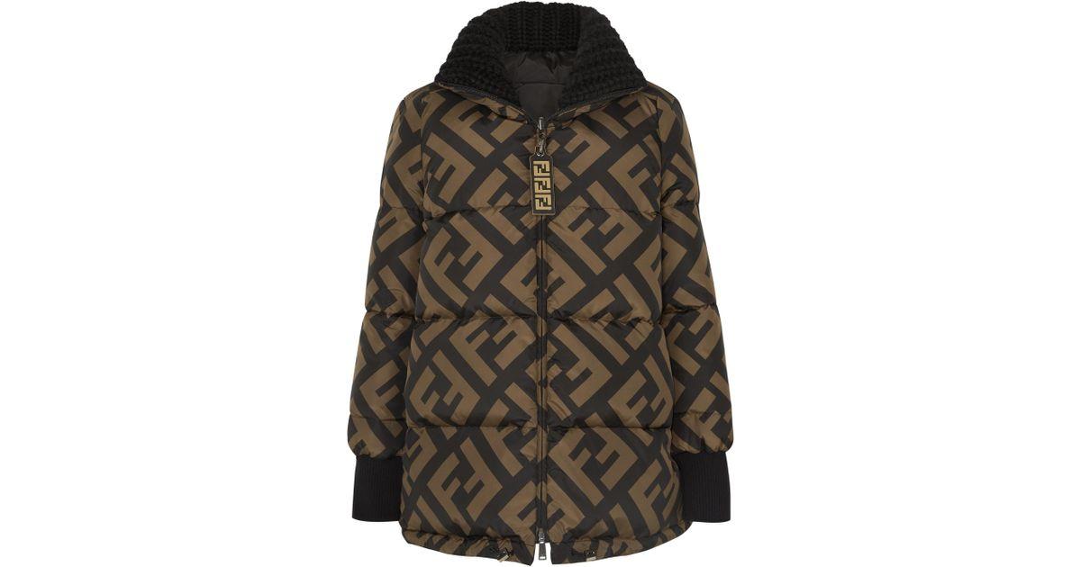 639bc26d1c Fendi Reversible Wool Blend-trimmed Printed Quilted Down Ski Jacket in Black  - Lyst