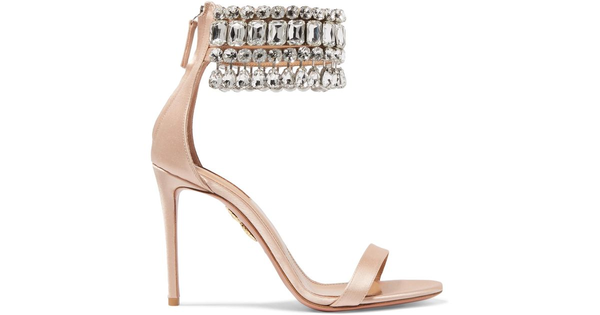 Gem Palace Crystal-embellished Satin Sandals - Blush Aquazzura oK0Mrnz4