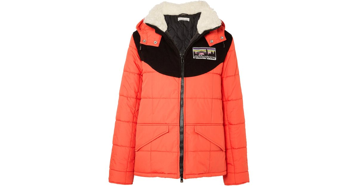 6270806ebd22 Lyst - Golden Goose Deluxe Brand Agena Faux Shearling-trimmed Quilted Shell  Jacket in Red