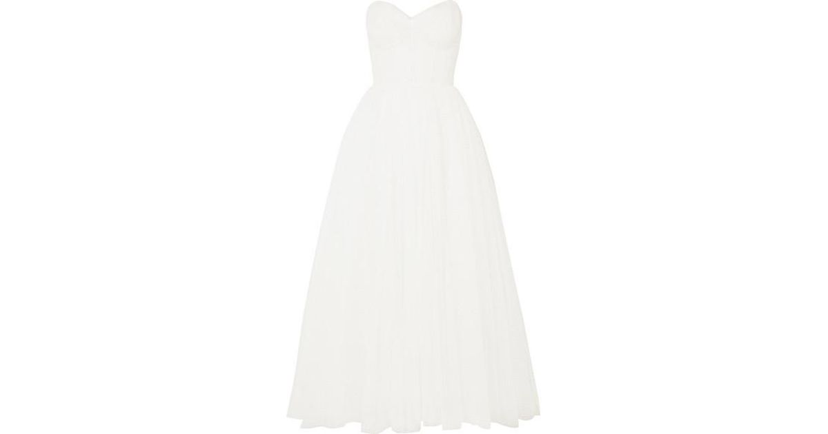 a15957053efbe Monique Lhuillier Brie Strapless Ruched Swiss-dot Tulle Gown in White - Lyst