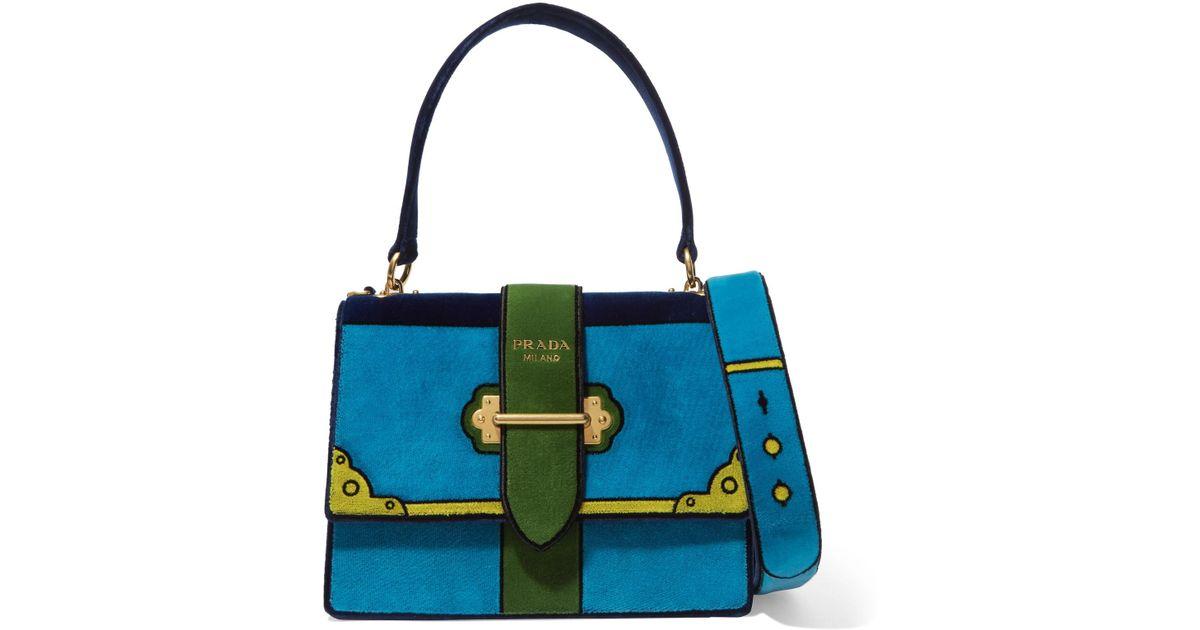 feb6cc369978 Prada Color-block Velvet Shoulder Bag in Blue - Lyst