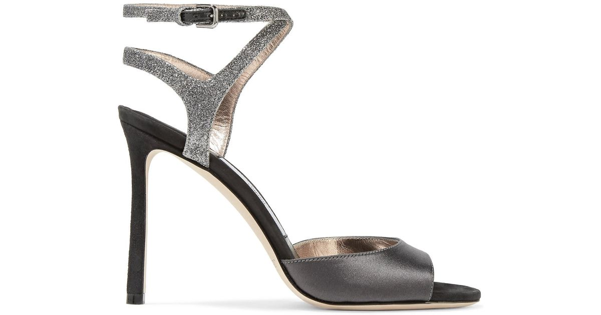 ba4f6e4151c1 Lyst - Jimmy Choo Helen Glitter-trimmed Satin And Suede Sandals
