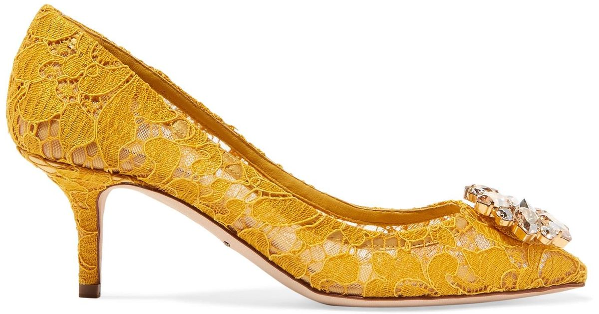 33ba89a4031 Dolce & Gabbana Yellow Crystal-embellished Corded Lace Pumps