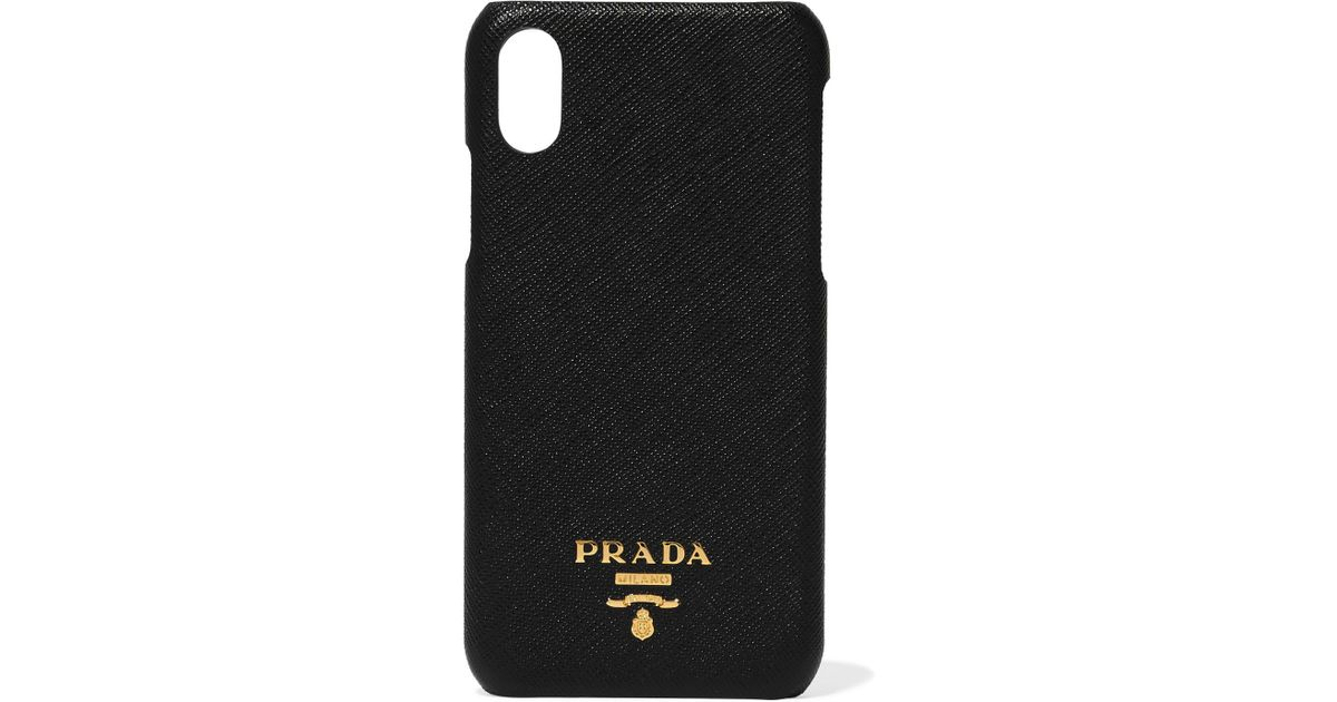 free shipping 5deb4 5a236 Prada Black Leather Logo Iphone X Case