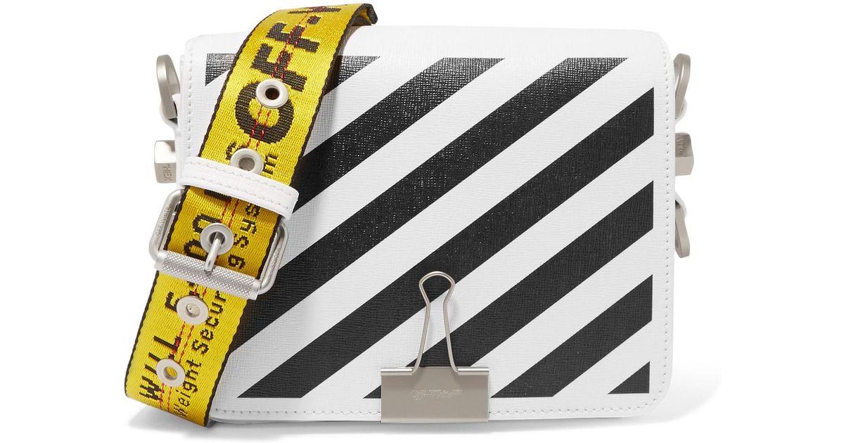 bcddf4e4cf2e Lyst - Off-White c o Virgil Abloh Striped Textured-leather Shoulder Bag in  White