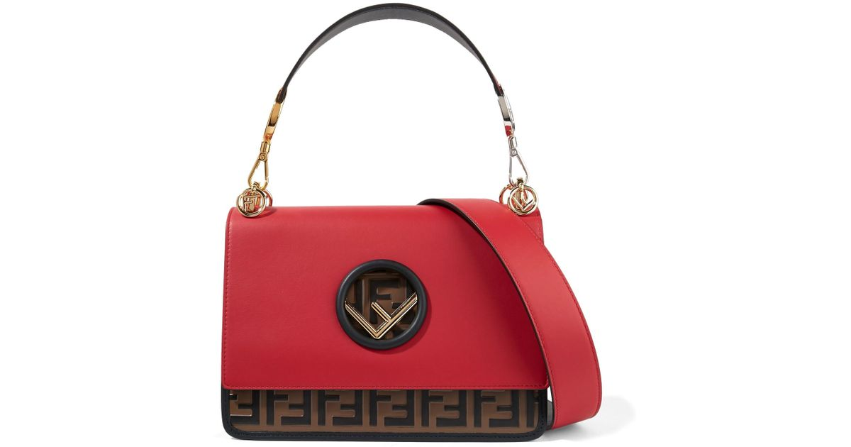e0cbb88074 Fendi - Red Kan I Embossed Leather Shoulder Bag - Lyst