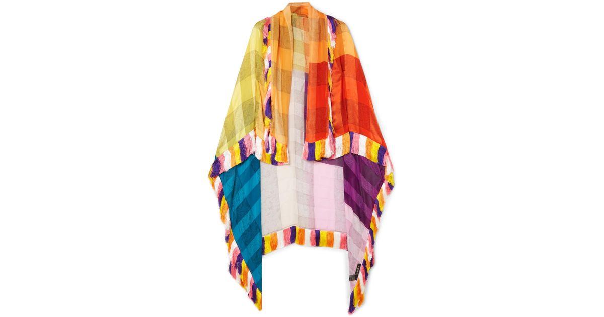 Fringed Silk-jacquard Wrap - Yellow Etro yGXoafik
