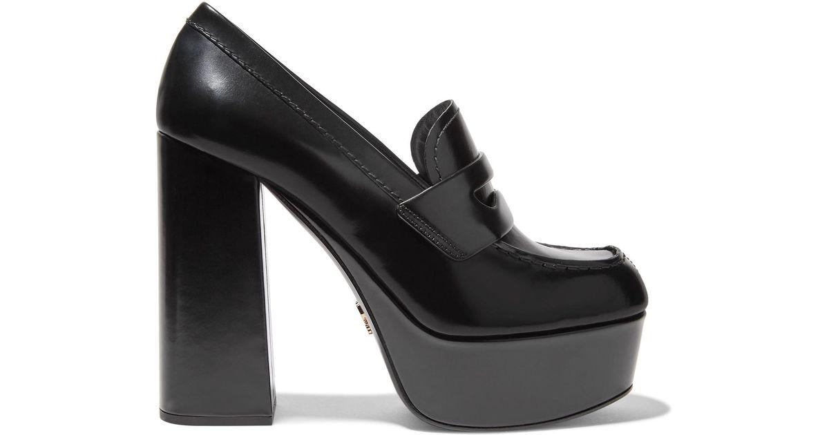f00dc4fc16b Lyst - Prada Leather Platform Loafers in Black