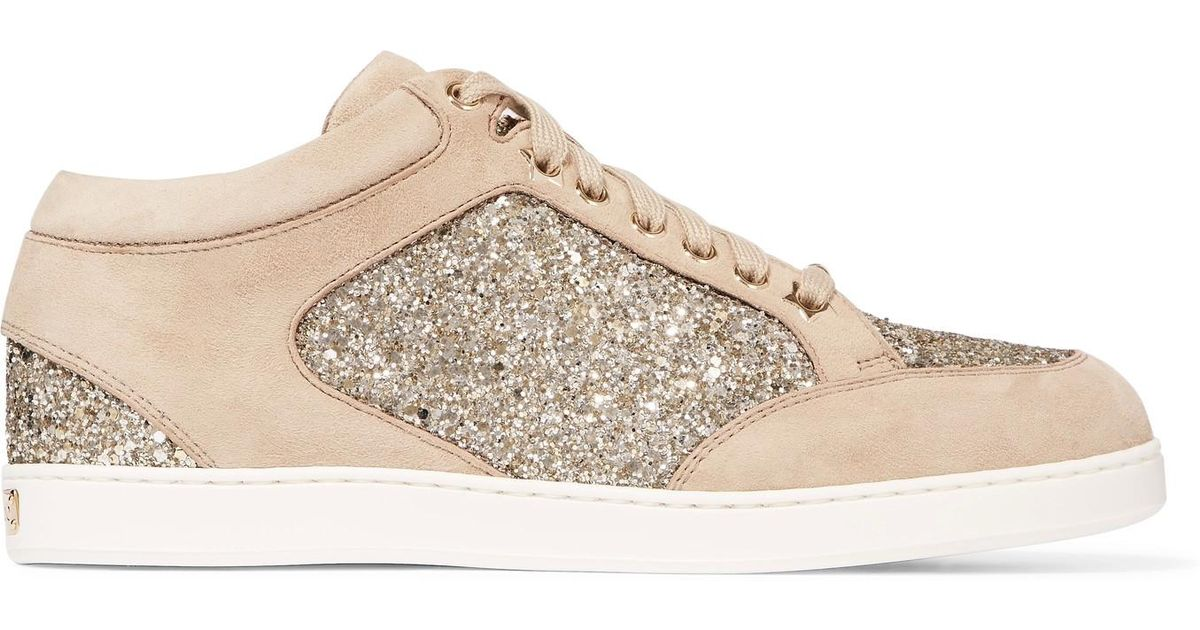 a5a8f8ba26c1 Jimmy Choo Miami Glitter-paneled Suede Sneakers in Natural - Lyst