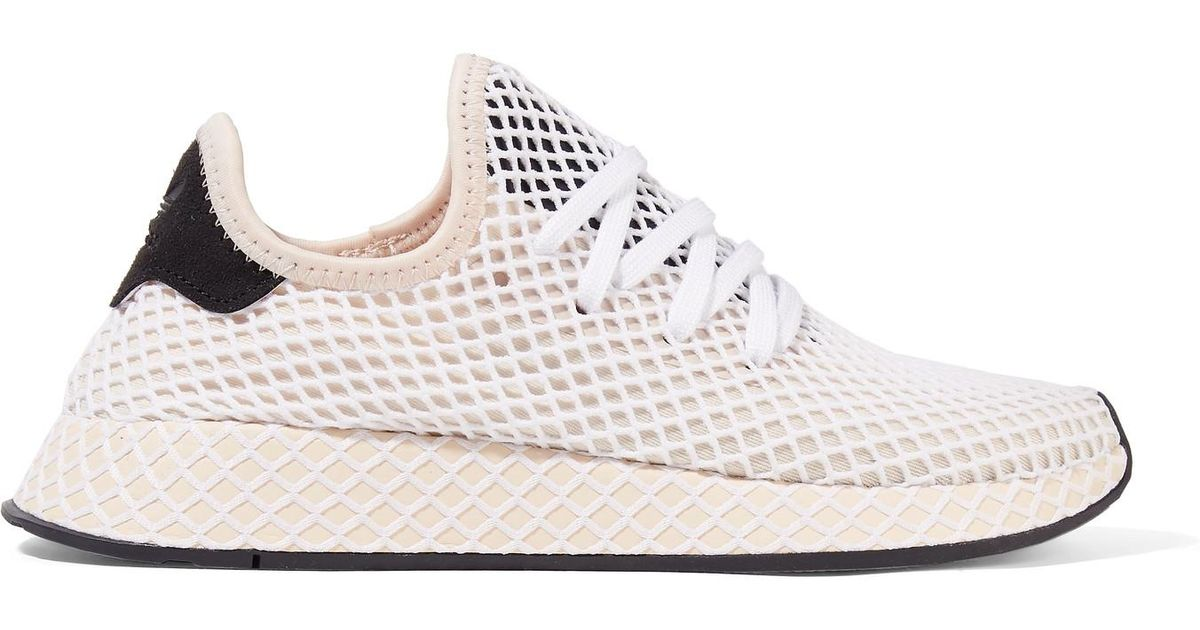 072a2f5a0319f Lyst - adidas Originals Deerupt Runner Suede-trimmed Mesh Sneakers in White