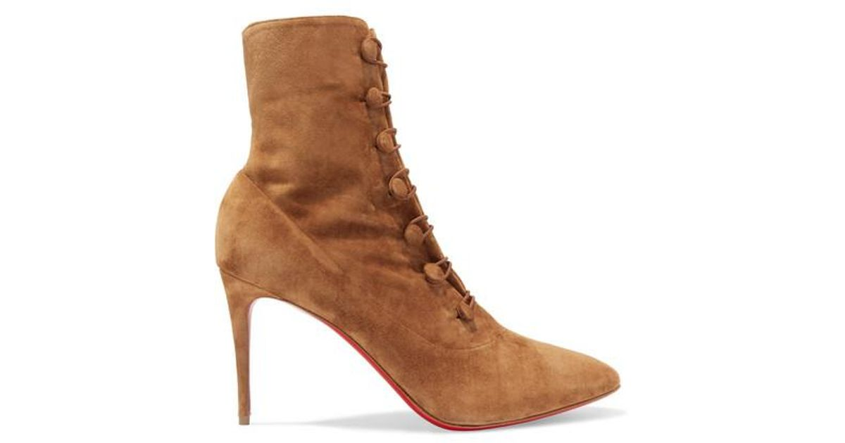 95fe7d2e2f5 Christian Louboutin Brown French Tutu 85 Suede Ankle Boots