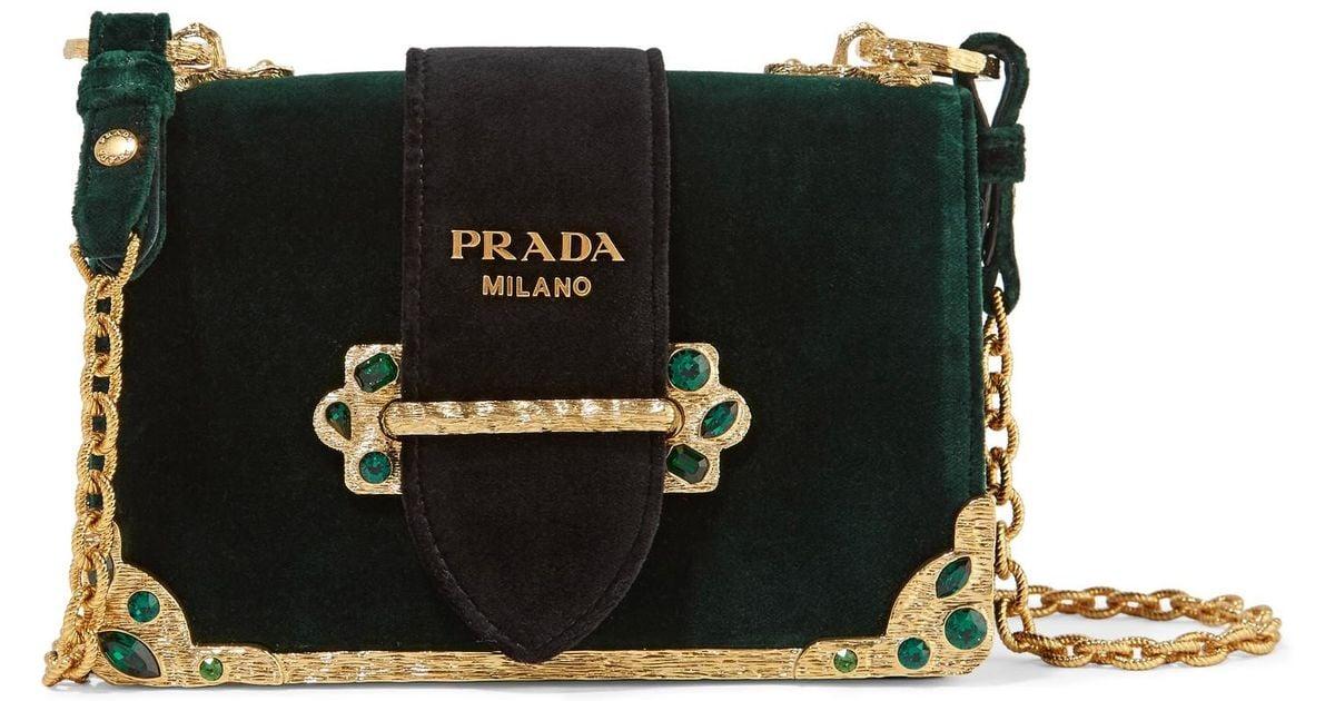 0f893ec8f728 Lyst - Prada Cahier Box Velvet Shoulder Bag in Green