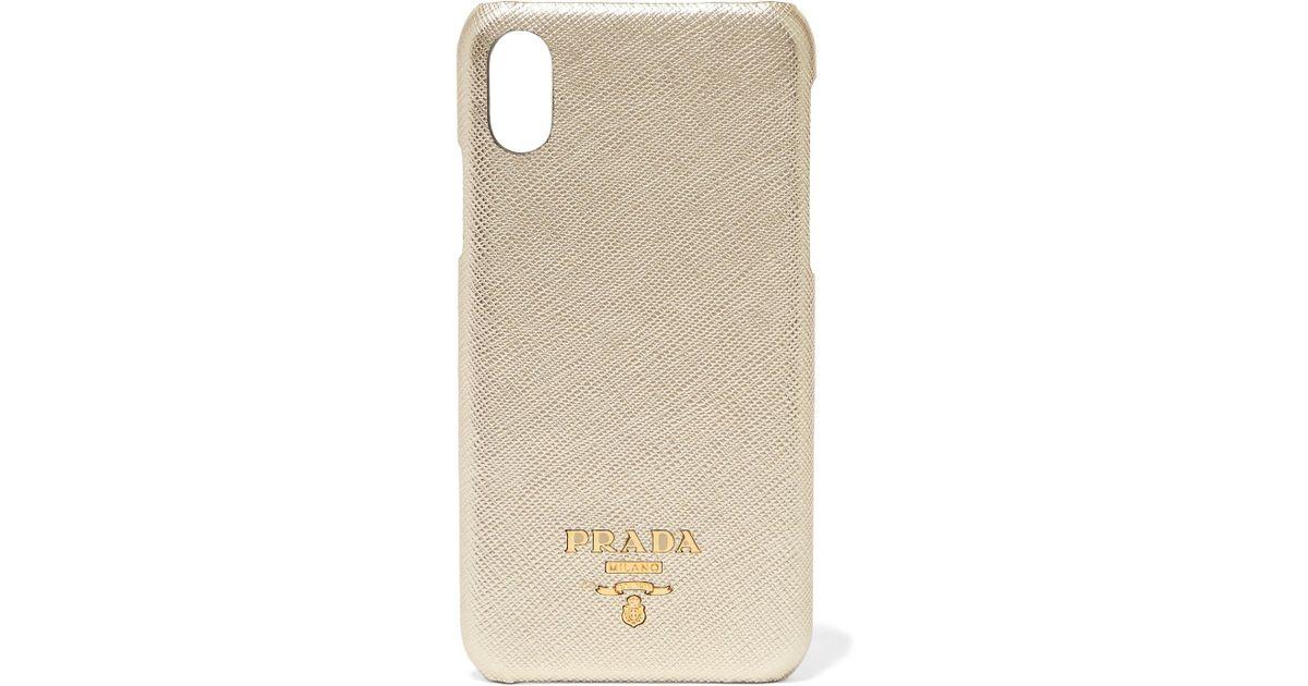 38dfabe41b Prada Metallic Textured-leather Iphone X Case