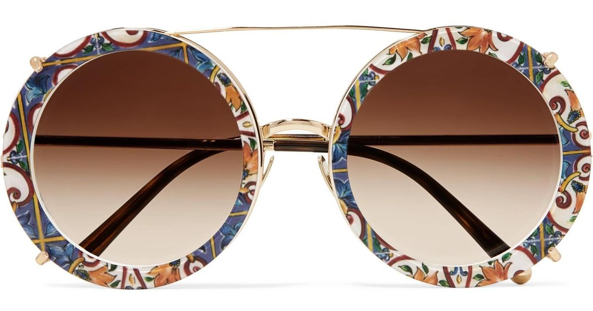 a06585a66435 Dolce   Gabbana Round-frame Printed Acetate And Gold-tone Convertible  Sunglasses in Brown - Lyst